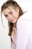 The portrait of the young beautiful girl. With long hair on a white background Stock Images
