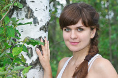 Portrait of a young beautiful girl in birch. In the summer green Park Stock Photography