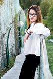 Portrait of a young beautiful girl in black glasses Portrait of a young beautiful girl in glasses Stock Images