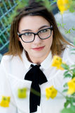 Portrait of a young beautiful girl in black glasses Portrait of a young beautiful girl in glasses Stock Photos