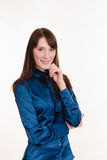 Portrait of a young beautiful girl in blue blouse Royalty Free Stock Photos