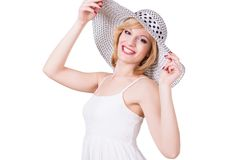 Portrait of young beautiful girl in elegant hat Stock Photography