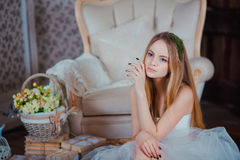 Portrait of young beautiful girl with flower Royalty Free Stock Images