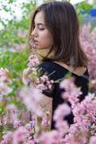 Portrait of young beautiful girl in flowers Royalty Free Stock Photography
