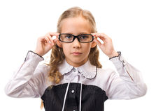 Portrait of a young beautiful girl in glasses. Studio shot over white background Royalty Free Stock Photography