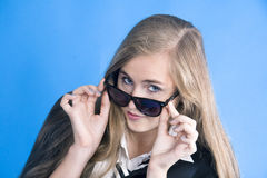 Portrait of young beautiful girl with glasses Stock Images