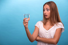 Portrait of young beautiful girl holding a glass Stock Image