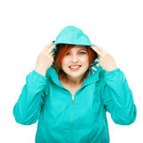 Portrait of a young beautiful girl in a jacket with a hood isola Royalty Free Stock Photos