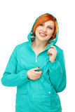 Portrait of a young beautiful girl in a jacket with a hood isola Stock Photography
