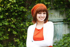 Portrait of a young beautiful girl in an knitted beret Stock Photos