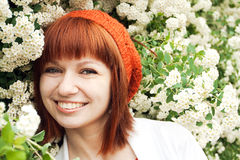 Portrait of a young beautiful girl in an knitted beret Stock Photo