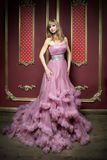 Portrait of young beautiful girl in long pink dress Stock Images
