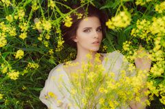 Young beautiful girl in field with yellow flowers royalty free stock photos