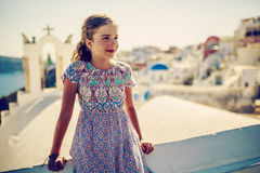 Portrait of young and beautiful girl in Oia. Portrait of young and beautiful girl in Oia - Santorini, Greece Stock Photos
