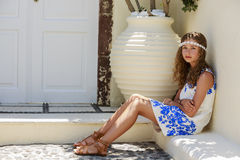 Portrait of young and beautiful girl in Oia. Stock Images