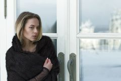Portrait of a young beautiful girl outdoors in winter stock photo