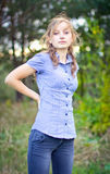Portrait of young beautiful girl at park Royalty Free Stock Image