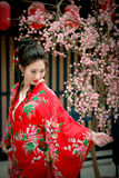 Portrait of young beautiful girl in red kimono Stock Photos