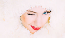Portrait of young beautiful girl in retro style Royalty Free Stock Photo