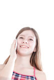 Portrait of the young beautiful girl speaking by phone Royalty Free Stock Photo