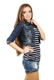 Teenager in jeans dress Royalty Free Stock Photo