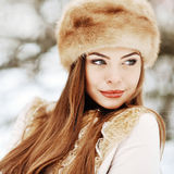 Portrait of young beautiful girl in winter close up Stock Image