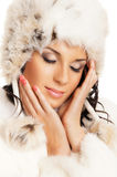 Portrait of young beautiful girl in Winter clothes Royalty Free Stock Images