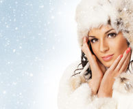 Portrait of young beautiful girl in winter style Stock Image