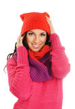 Portrait of young beautiful girl in winter style Stock Photos