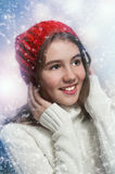 Portrait of young beautiful girl in winter style Stock Images