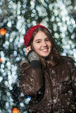 Portrait of young beautiful girl in winter style Royalty Free Stock Photography