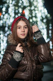 Portrait of young beautiful girl in winter style Royalty Free Stock Image