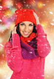 Portrait of a young and beautiful girl in winter style clothes Stock Photos