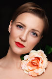 Portrait of young beautiful glamorous woman with red lipstick an Stock Images