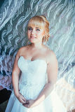 Portrait of young beautiful happy bride near the window Stock Image