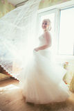 Portrait of young beautiful happy bride standing near a window Royalty Free Stock Images