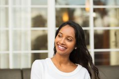 Young beautiful hispanic woman smiling. Portrait of a young beautiful hispanic woman smiling Royalty Free Stock Photography