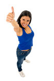 Portrait of young beautiful latin woman giving thumb up happy and excited Stock Photo