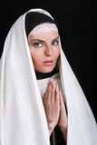 Portrait of the young beautiful nun royalty free stock image