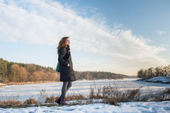 Portrait of a young beautiful red hair european girl catching blowing wind Royalty Free Stock Photos