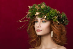 Portrait of young beautiful redhaired woman Royalty Free Stock Photos