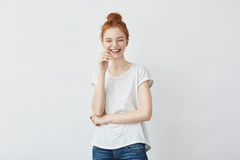 Portrait of young  beautiful redhead girl laughing. Royalty Free Stock Image