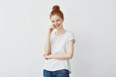 Portrait of young  beautiful redhead girl laughing. Royalty Free Stock Photos
