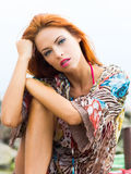 Portrait of a young and beautiful redhead woman Royalty Free Stock Image