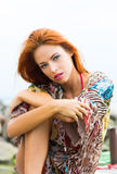 Portrait of a young and beautiful redhead woman Royalty Free Stock Photography