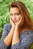 Portrait of young beautiful redhead woman Stock Photo