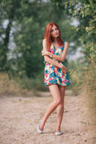 Portrait of a young beautiful redhead woman Stock Photos