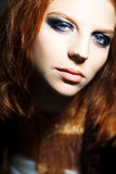 Portrait of young beautiful redheaded woman, close Royalty Free Stock Images