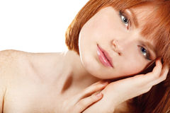 Portrait of young beautiful redheaded woman hoolding hand near h Stock Photos