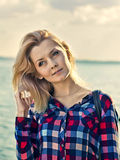 Portrait of a young beautiful sensual blonde girl Stock Images